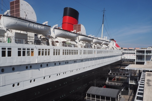 View of the Queen Mary's superstructure, looking forward