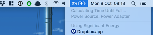 Screenshot showing my MacBook battery charging at 0%.