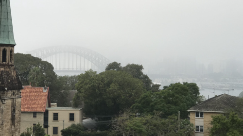 Photo of fog in Sydney from North Sydney this morning