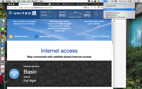 Screenshot showing the United Airlines Wi-Fi page