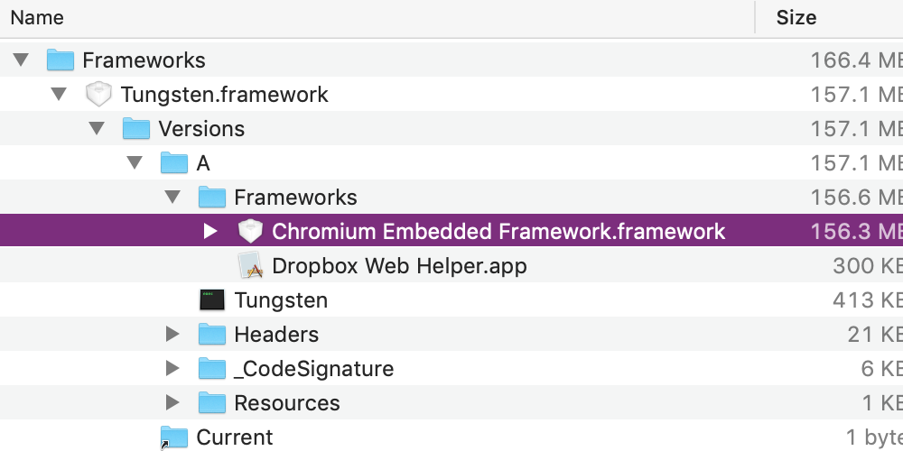 Screenshot showing the Chromium Embedded Framework in the Dropbox application bundle.