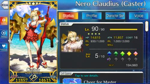 Screenshot showing Caster Nero.