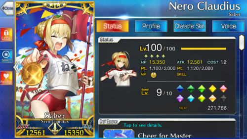 Screenshot showing Nero in her gym outfit