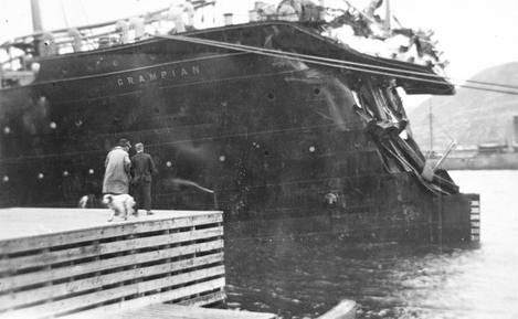 Photo of the Grampian after her collision, showing the buckled bow