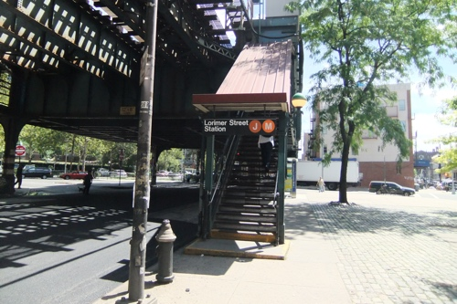 Photo at street level of the Lorimer Street station complex