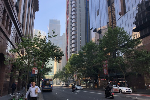 Photo near Martin Place station showing buildings obscured by thick air