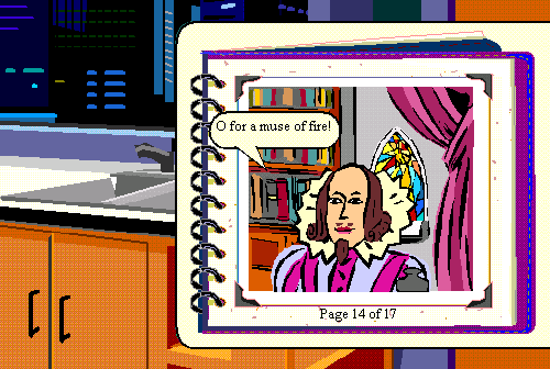 Screenshot from Microsoft Bob showing the Shakespeare assistant.
