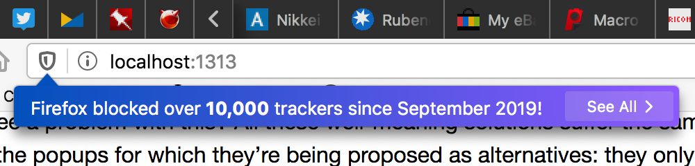 Firefox blocked over 10,000 trackers since September 2019!