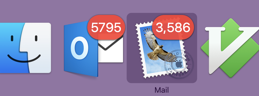 Screenshot of my Mac with Outlook reporting 5795 [sic] messages, and Apple Mail showing 3,586.