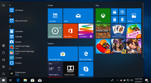 Screenshot of the Windows 10 Start Menu with random tiles and Candy Crush and oh god make it stop!