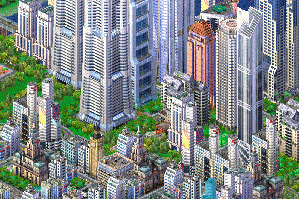 SimCity 3000 screenshot showing a railway line ending at the CBD of a recent city.
