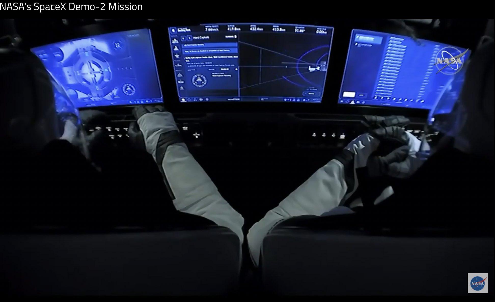 Screenshot showing control screens for the dock procedure.