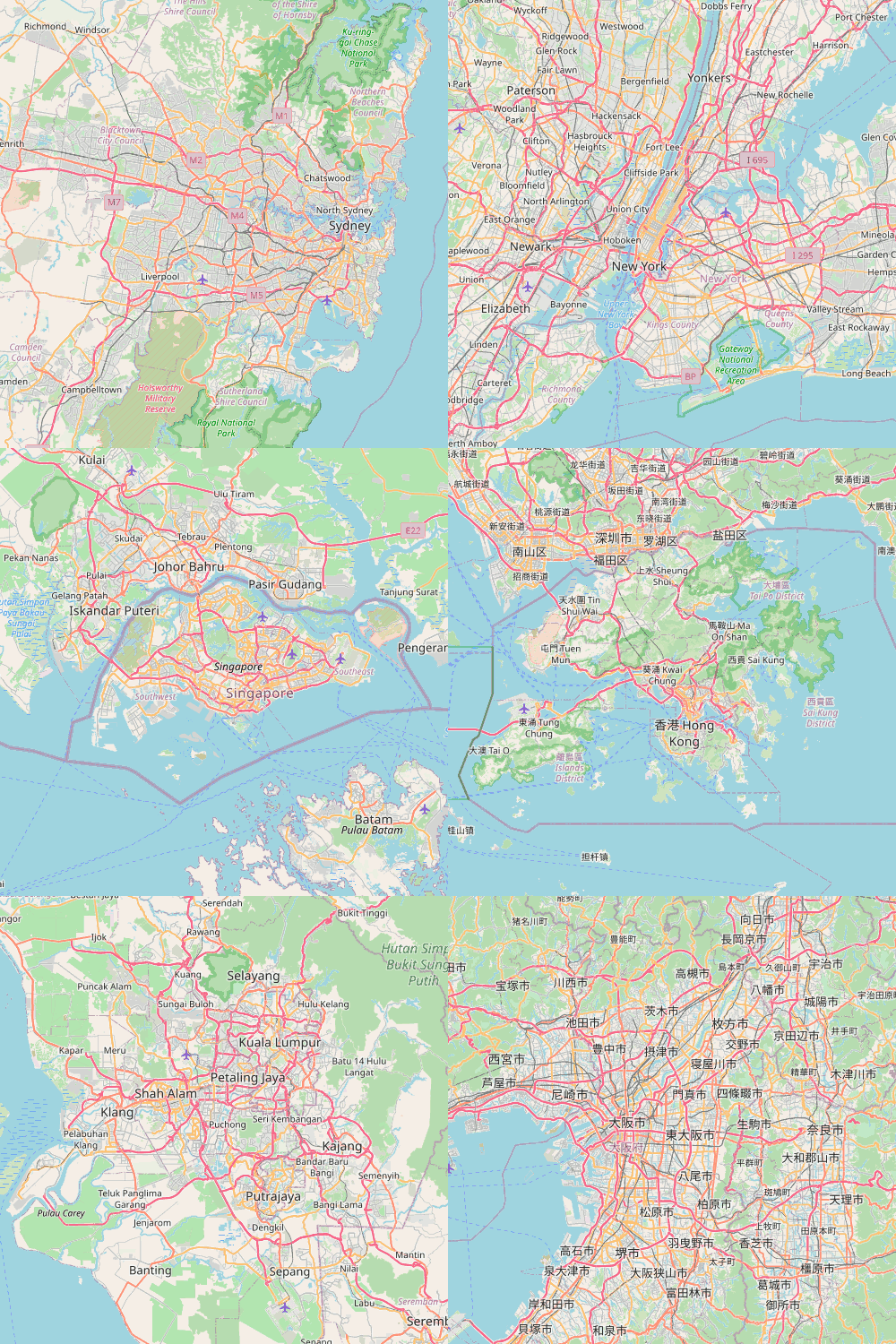 Maps showing cities listed above.