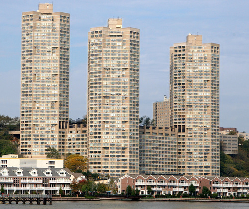 Photo of the tower complex overlooking the Hudson river