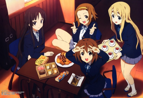 Image of the K-On! girls, from the Kyoto Animation adaptation.