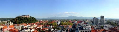 View on Ljubljana from Nebotičnik Tower