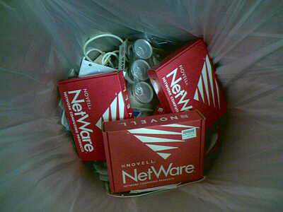 Picture of NetWare boxes in the rubbish.