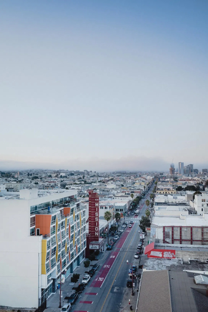 Photo down a long street in the Mission area of San Francisco, by Om Malik.