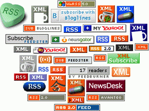 Various RSS icons from the mid 2000s