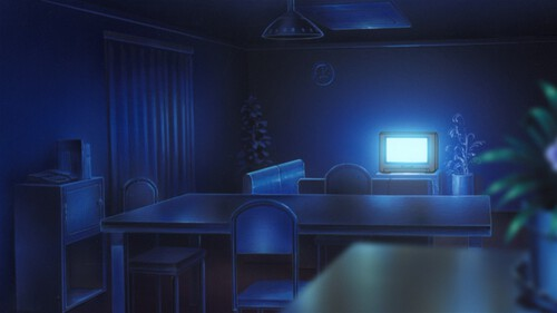 Night scene in a loungeroom bathed in the blue light from what I can only assume is a Trinitron.