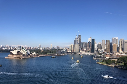 View of Sydney with the Opera House and the CBD from the Harbour Bridge