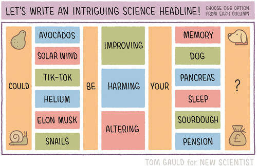 Let's Write an Intruiging Science Headline! Could (Avocados, Solar Wind, Tik-Tok, Helium, Elon Musk, or Snails) be (Improving, Harming, or Altering) your (Memory, Dog, Pancreas, Sleep, Sourdough, Pension)