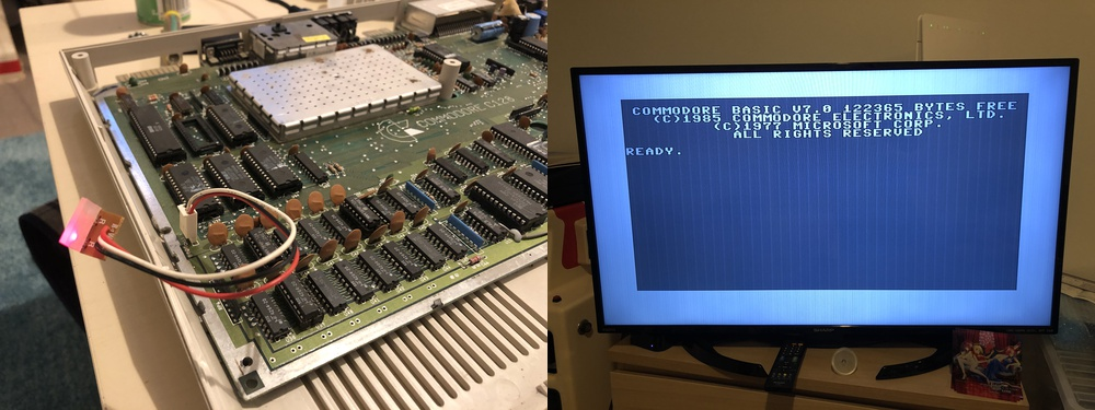 Photos showing the left-most LED power light illuminated, and the Commodore 128 boot screen on our TV.