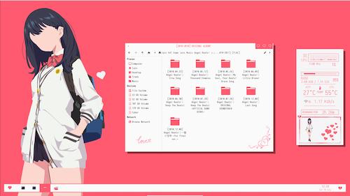 FlyingCake85's salmon-themed light desktop, with Rikka from SSSS.Gridman. Salmon-themed?