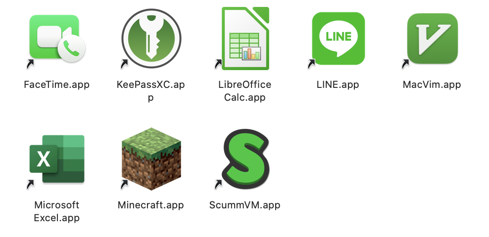 Icons for FaceTime, KeePassXC, LibreOffice Calc, Line, MacVim, Excel, Minecraft, and ScummVM