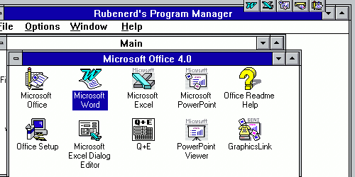 Office 4.0 and Windows for Workgroups installed in a QEMU VM
