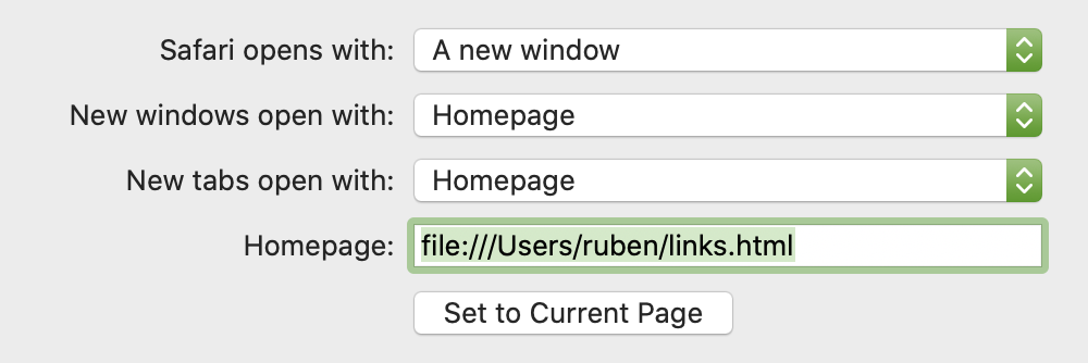 Screenshot showing dropdown for 'New Tabs Open With'.
