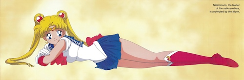 Art of Usagi from Sailor Moon in her transformed state with a bemused expression.