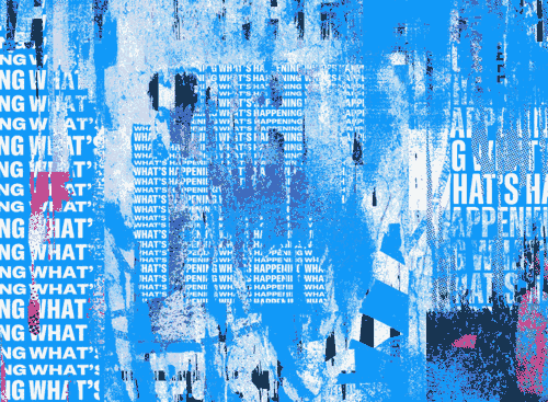 Picture from Twitter's login page showing inverted text torn up among splatterings of colour.