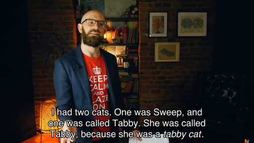 I had two cats. One was Sweep, one was called Tabby. She was called Tabby, because she was a tabby cat.