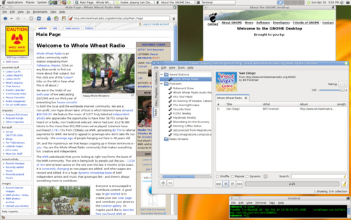 Screenshot from 2008 showing the Whole Wheat Radio homepage, and the Exaile media player.