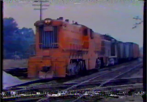 Screenshot from the documentary showing a Baldwin centre cab diesel locomotive