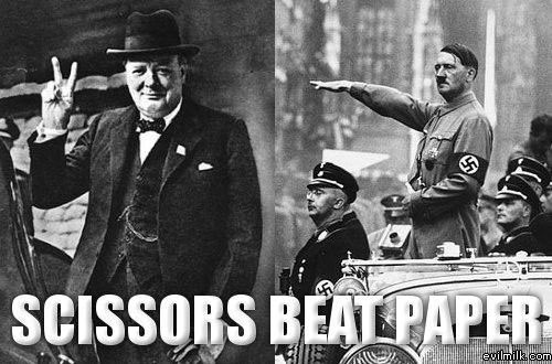 Hitler saluting, and Churchill showing a V