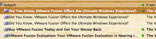 Email inbox showing three identical emails from VMware advertising Fusion as giving The Ultimate Windows Experience