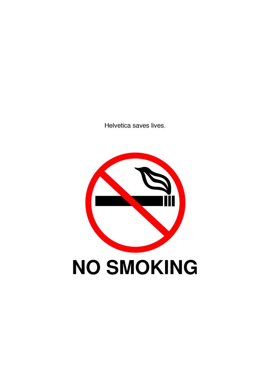 No Smoking sign typeset in Helvetica