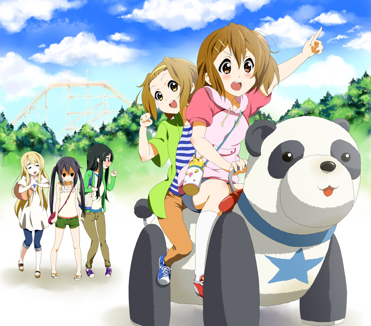 Cast of K-On! at an amusemark park