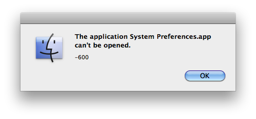 The Application System Preferences.app can't be opened. -600