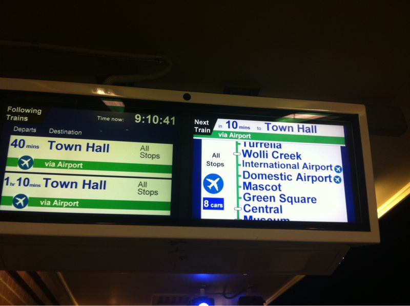 Indicator board showing 10 minute wait for next train to Town Hall