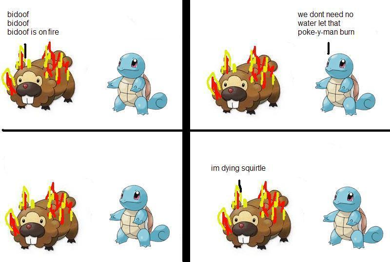 Squirtle failing to use his friggen water powers to put out his fire