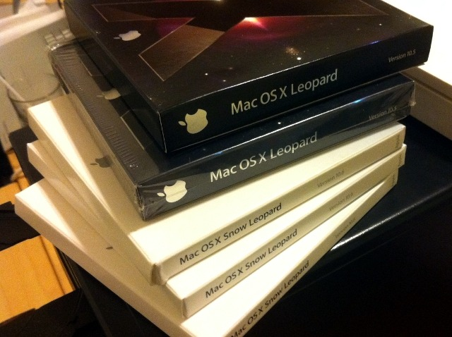 My stack of Leopard and Snow Leopard DVDs