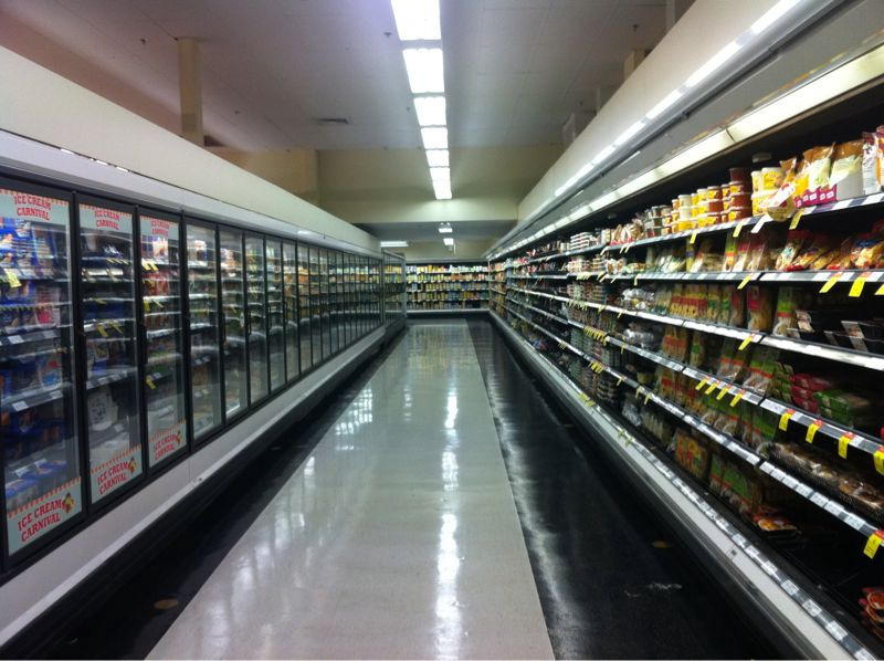 Empty supermarket isle at Coles in Earlwood