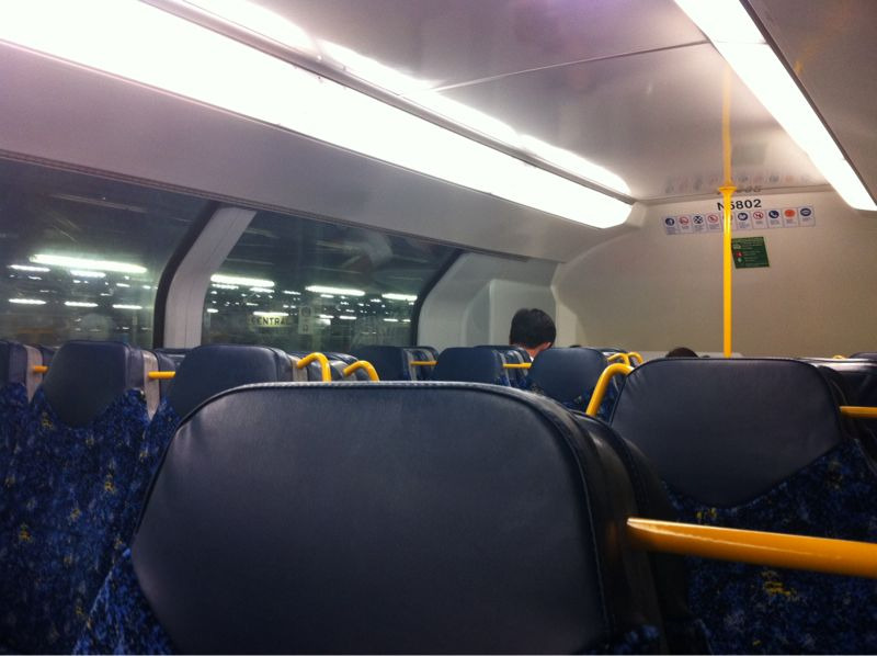Inside of a refurbished Sydney CityRail Tangara train