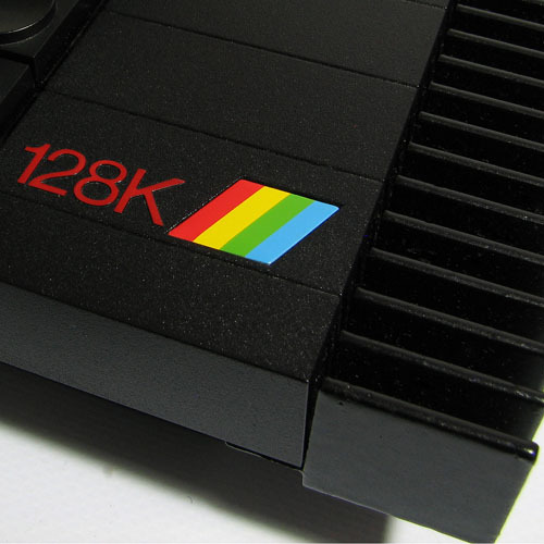 Close-up photo of the logo on a Sinclair 120K home computer