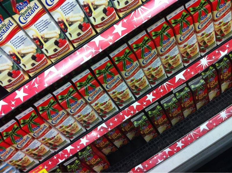 Photo of rows and rows of holiday custard at Coles!