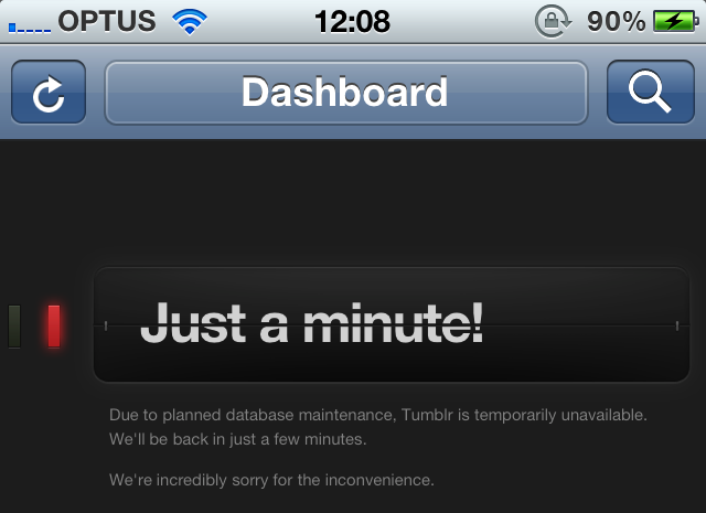 Screenshot of Tumblr down due to database maintenance