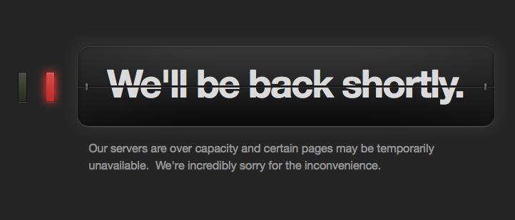 Screenshot of Tumblr down, reporting over capacity